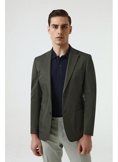 D'S Damat Slim Fit Düz Kumaş Ceket Yeşil